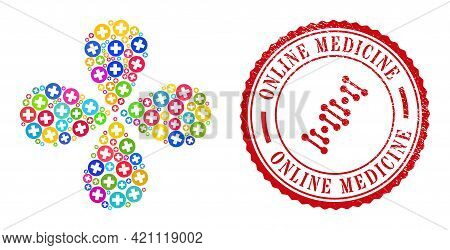 Medicine Bright Curl Flower Shape, And Red Round Online Medicine Grunge Stamp Imitation. Medicine Sy