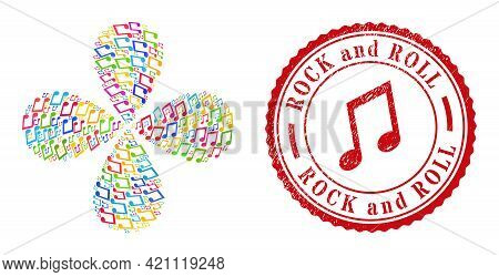 Music Notes Bright Curl Flower Shape, And Red Round Rock And Roll Corroded Stamp Seal. Music Notes S