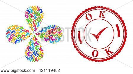 Ok Sign Bright Twirl Flower With 4 Petals, And Red Round Ok Textured Badge. Ok Sign Symbol Inside Ro