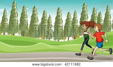 Illustration of a boy and a girl running