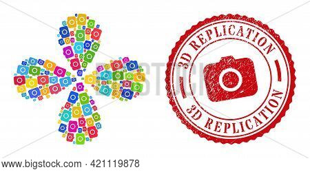 Photocamera Colorful Swirl Spin, And Red Round 3d Replication Grunge Rubber Print. Photocamera Symbo