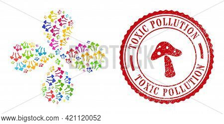 Psychedelic Mushrooms Colored Swirl Flower With 4 Petals, And Red Round Toxic Pollution Textured Sta