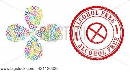 Restricted Multicolored Centrifugal Burst, And Red Round Alcohol Free Scratched Stamp Imitation. Res