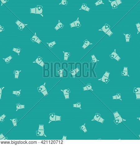 Green Cannon Icon Isolated Seamless Pattern On Green Background. Medieval Weapons. Vector