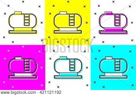 Set Oil Tank Storage Icon Isolated On Color Background. Vessel Tank For Oil And Gas Industrial. Oil