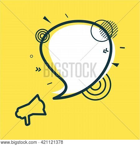 Speech Bubble And Megaphone With Abstract Geometric Shapes. White Sticker And Black Frame On Yellow