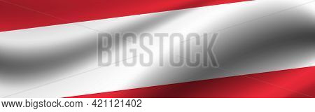 Banner With The Flag Of Austria. Fabric Texture Of The Flag Of Austria.