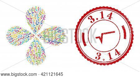 Square Root Multicolored Curl Flower With Four Petals, And Red Round 3.14 Rubber Print. Square Root