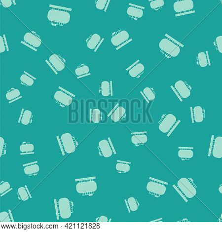 Green Oil Tank Storage Icon Isolated Seamless Pattern On Green Background. Vessel Tank For Oil And G