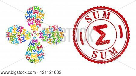 Sum Multicolored Swirl Flower Shape, And Red Round Sum Rubber Stamp Seal. Sum Symbol Inside Round St