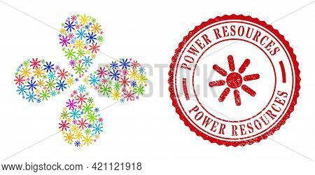 Sun Rays Multi Colored Centrifugal Flower With 4 Petals, And Red Round Power Resources Rough Stamp.