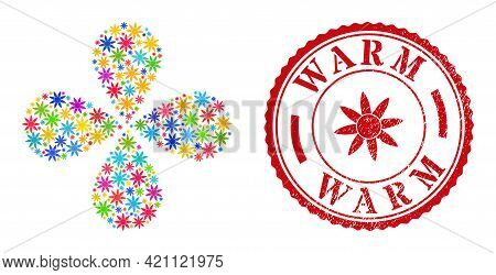 Sun Shine Bright Curl Abstract Flower, And Red Round Warm Unclean Stamp Print. Sun Shine Symbol Insi