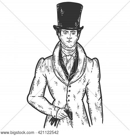 Nineteenth Century Fashion. Man In A Jacket And Top Hat. Sketch Scratch Board Imitation Color.
