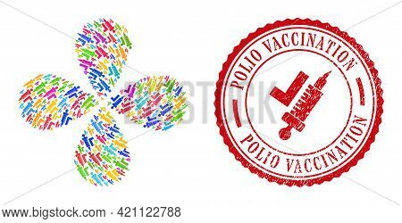 Vaccination Bright Curl Flower With 4 Petals, And Red Round Polio Vaccination Unclean Stamp Imitatio