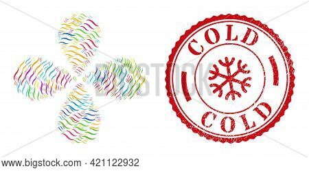 Vapour Smell Colorful Centrifugal Flower Shape, And Red Round Cold Scratched Stamp Seal. Vapour Smel