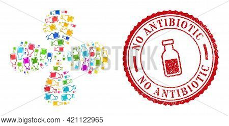 Vial Multicolored Rotation Flower Cluster, And Red Round No Antibiotic Scratched Stamp Seal. Vial Sy