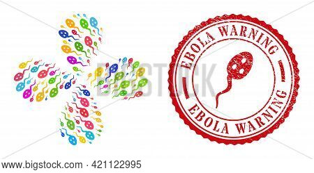 Vibrion Microbe Multi Colored Centrifugal Twist, And Red Round Ebola Warning Corroded Stamp Print. V
