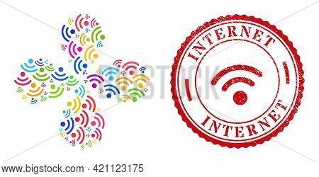 Wi-fi Source Colorful Explosion Flower With 4 Petals, And Red Round Internet Corroded Stamp. Wi-fi S