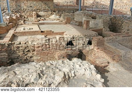 Ancient Foundations In Salobrena Castle In Andalucia, Spain