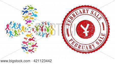 Yen Symbol Colored Swirl Flower Cluster, And Red Round February Sale Rubber Print. Yen Symbol Inside