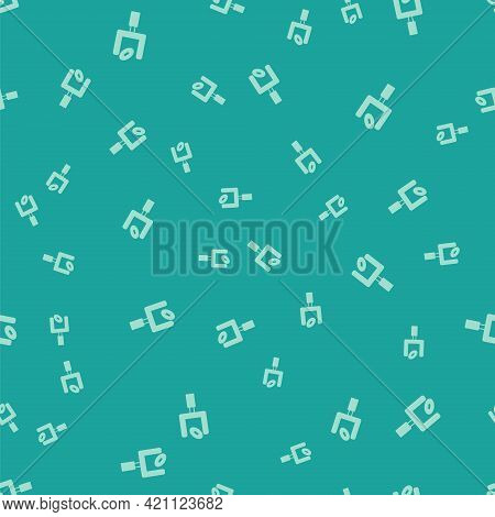 Green American Football Goal Post And Football Ball Icon Isolated Seamless Pattern On Green Backgrou