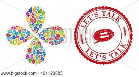 Text Message Multi Colored Exploding Abstract Flower, And Red Round Lets Talk Grunge Rubber Print. T