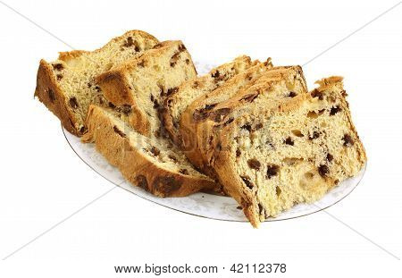Panettone Bread Cake Slices On Plate