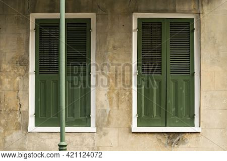 Windows And Architecture Of The French Quarter In New Orleans, Louisiana.