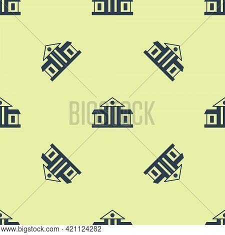 Blue White House Icon Isolated Seamless Pattern On Yellow Background. Washington Dc. Vector