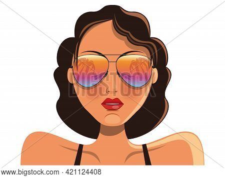 Young Cute Girl In Sunglasses That Reflect The Sea And Palms. Summer Holiday. Vector Illustration