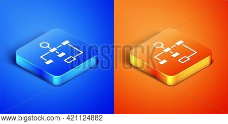 Isometric Business Hierarchy Organogram Chart Infographics Icon Isolated On Blue And Orange Backgrou