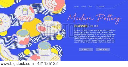 Modern Pottery Website Template, Web Page, Landing Page. Design For Developing Website And Mobile Si