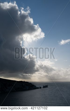 This  Photo Is Of The Needles On The Tip Of The Isle Of Wight.the Needles Are 3 Huge, White Chalk Ro