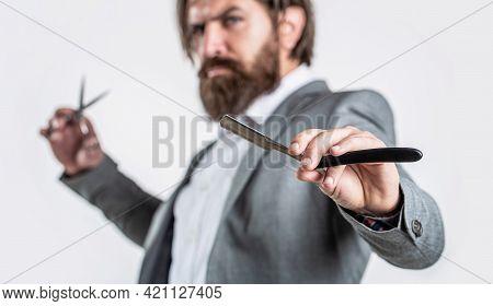 Barber Scissors And Straight Razor, Barber Shop, Suit. Vintage Barber Shop, Shaving. Bearded Client