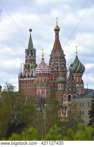 Moscow, Russia. View Of The Moscow Kremlin And St Basil's Cathedral. View Of The Moscow Kremlin