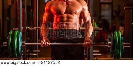 Bodybuilder Athletic Man With Six Pack, Perfect Abs, Shoulders, Biceps, Triceps, Chest. Barbells Wor