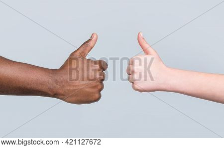 Like Gesture. Close-up Hand Showing Thumbs Up. Woman Hands Showing Thumbs Up. Black Lives Matter. Su