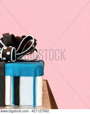 Half A Birthday Cake Gift Box With Fondant Bow On Blush Pink Background