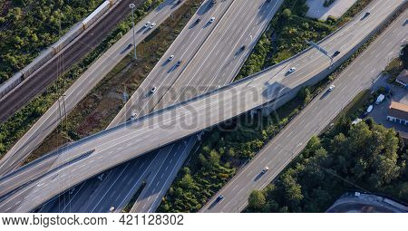 Aerial View From An Airplane Of A Junction At Trans-canada Highway. Taken In Coquitlam, Vancouver, B