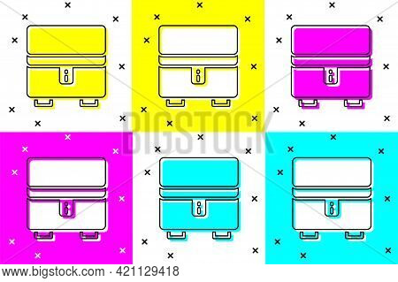 Set Jewelry Box Icon Isolated On Color Background. Casket With Jewelry. Vector