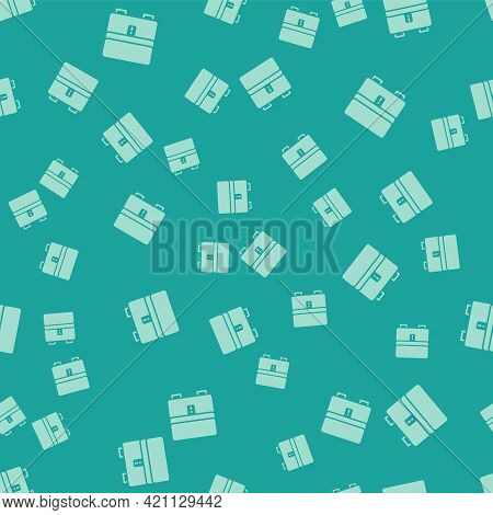 Green Jewelry Box Icon Isolated Seamless Pattern On Green Background. Casket With Jewelry. Vector
