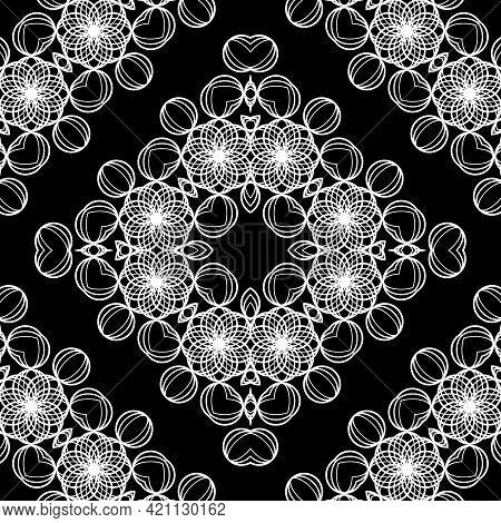 Design Seamless Decorative Lacy Pattern. Abstract Diamond Monochrome Background. Vector Art