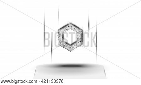 Chainlink Link Token Symbol Of The Defi System Above The Pedestal On White Background. Cryptocurrenc