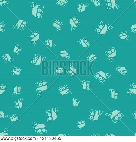 Green Case Of Computer With Exclamation Mark Icon Isolated Seamless Pattern On Green Background. Com