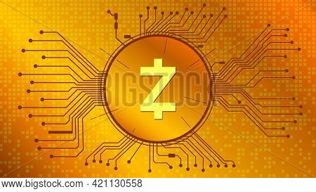 Zcash Cryptocurrency Token Symbol, Zec Coin Icon In Circle With Pcb On Gold Background. Vector Illus