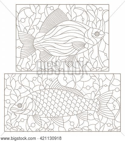 A Set Of Contour Illustrations In The Stained Glass Style With Carp Fishes On A Background Of Algae,
