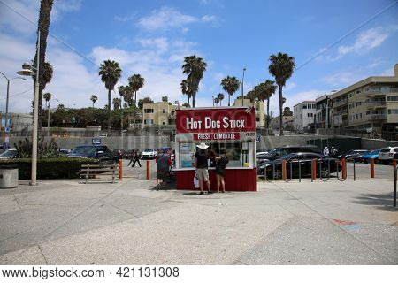 May 14, 2021 Santa Monica California, USA: Hot Dog on a Stick. Hot Dog Stick Free Standing Resturant in Santa Monica California. Editorial Use.