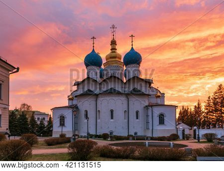 Dramatic sky over the Annunciation Cathedral of the Kazan Kremlin at sunset. Kazan Kremlin is a UNESCO World Heritage Site and historic citadel of Tatarstan in Russia