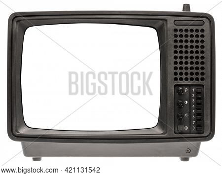 Vintage portable black and white CRT TV receiver with blank screen template isolated on white background. Retro technology concept