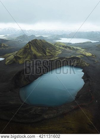 View of Hnausapollur lake in the Highlands of Iceland